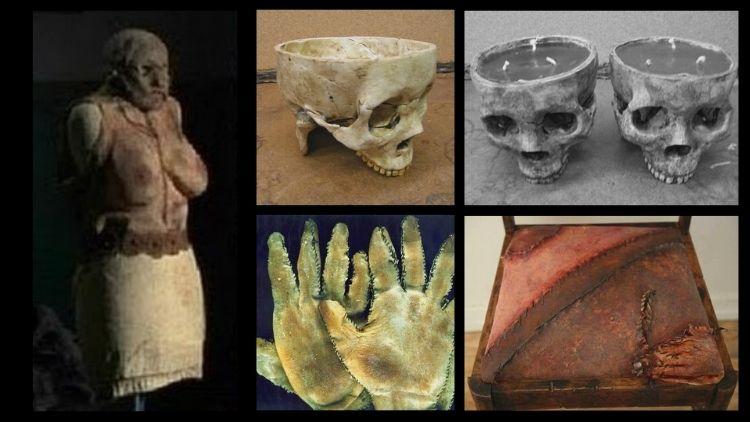 Macabros objetos hechos con piel humana