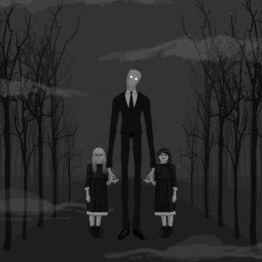 Ilustración Slenderman con Anissa y Morgan de la mano.